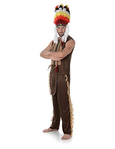 KULTFAKTOR GmbH Indianer-Häuptling Kostüm Western braun-bunt M