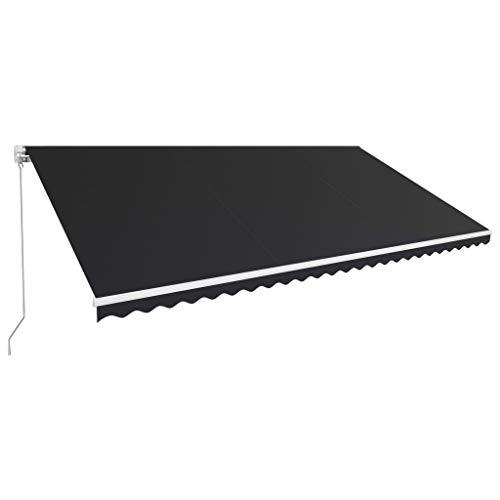 Tidyard Luifel Handmatig Uittrekbaar Buiten Tuin Zonnescherm Luifel Gazebo Waterdicht Anti-UV 600X300 cm Antraciet