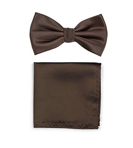 Puccini Uni Fliegen Set mit Einstecktuch, einfarbiges Set mit Herrenfliege (Fliege, Bow Tie) und Einstecktuch für Hochzeit & festliche Anlässe (Braun)