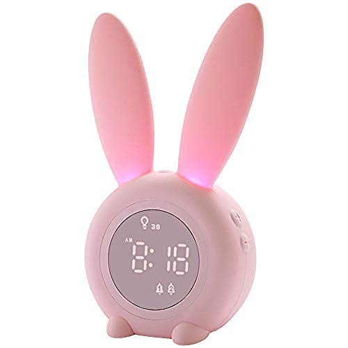 FPRW Bunny Kids wekker met 5 beltonen, slaapmonitor, thermometer, slaaptrainer voor kinderen, nachtlampje, touch-bediening, voor kinderen, roze