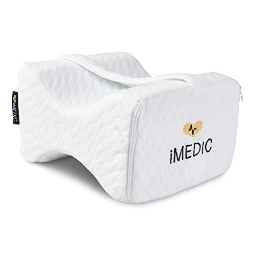 iMedic Memory Foam Kniekissen zum Schlafen, Gel gefüttert, Premium Qualität, orthopädisches Beinkissen für perfekte Ausrichtung für Seitenschläfer, weißer Jacquard