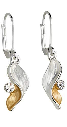 Perlkönig | Damen Frauen | Ohrringe Set | Ear Cuffs | Flügel in Silber Gold | Bicolor | Glitzer Stein | Ohrstecker |Nickelabgabefrei