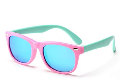 FOURCHEN Gafas de sol flexibles de goma polarizadas para niños para niñas de 3 a 10 años de edad (pinkgreen/blue lens)