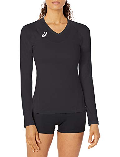 ASICS Spin Serve Volleyball Jersey Long Sleeve, Team Black, Medium