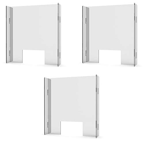 """Portable Countertop Sneeze Guard with Pass-Through Window – Freestanding Plexiglass Shield for Front Desk, Receptionists, Cashiers, Clerks (28""""W x 30""""H) (3 per Package)"""