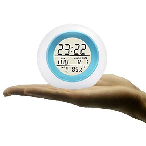 Release Creativo 7 Retroiluminación Colorida Reloj Despertador Redondo para Niños Calendario Alarma De Bola Frontal Decoración De Sonido Natural