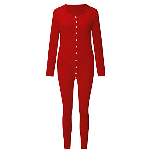 One Piece Pajamas For Mens Button-down Front Functional Buttoned Flap Jumpsuit Adults Christmas Nightgowns Sleepwear Long Sleeve Bodysuit Rompers