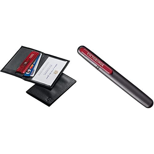 Victorinox Etui en Cuir pour Swisscard & Aiguisoir Double pour Couteaux, Swiss Made, Portable, Noir Rouge