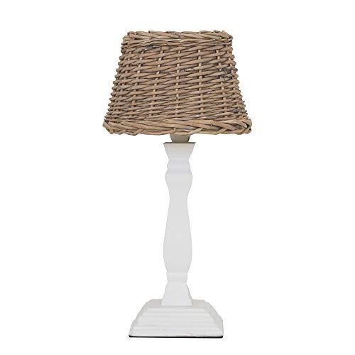 Tischlampe LONG ISLAND shabby weiß braun Rattanlampenschirm Hamptons Lampe E14