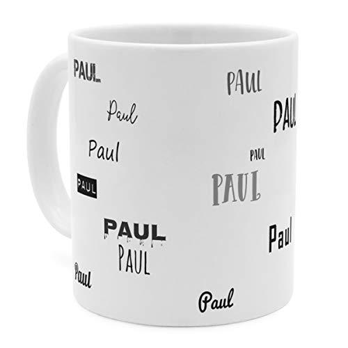 printplanet Tasse mit Namen Paul - Motiv Schriftarten Sammlung - Namenstasse, Kaffeebecher, Mug, Becher, Kaffeetasse - Farbe Weiß
