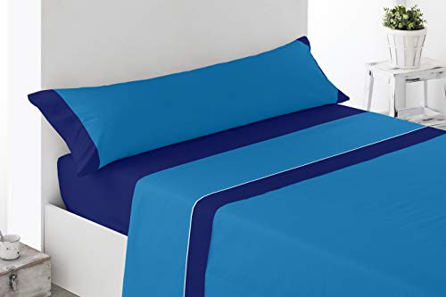Cabetex Home - Juego de sábanas Lisas - Colores Combinados - 3 Piezas - Microfibra Transpirable (Azul/Marino, 150_x_190/200 cm)