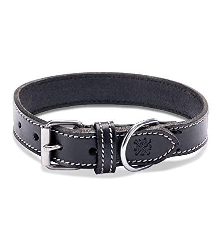 Collar de piel para perros – muy resistente y elegante collar de piel auténtica – Collar para perros pequeños y grandes (XXL (50,5 – 61,5 cm)