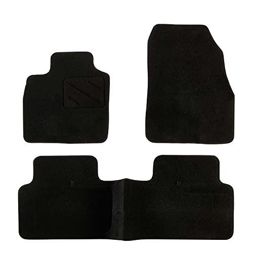 DBS Alfombrillas de Coche - A Medida - Alfombrillas para Coche - 3 uds. - Antideslizante - Moqueta en Negro 900 g/m² - Aspecto Terciopelo - Modelo Star - 1763211
