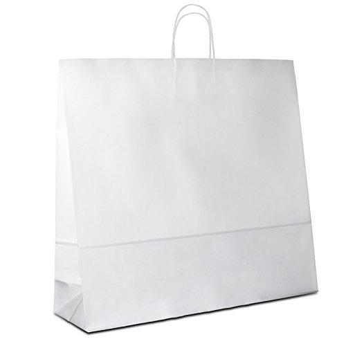 125 x Papiertüten weiss 54+15x49 cm | stabile Papiertaschen | Papierbeutel Kordelhenkel | Einkaufstasche Groß | Papiertragetaschen | HUTNER