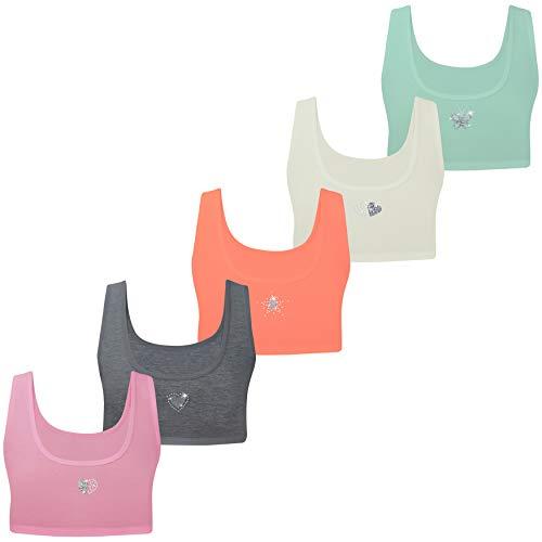 LOREZA ® Sujetadores para Chicas - algodón - Strass/Spangle/Correas Finas - Deporte - Juego de 5-12-13 años