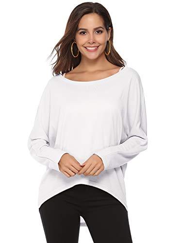 T-Shirt Damen Langarm T-Shirt Lose Asymmetrisch Shirt Pullover Damen Bluse Oberteile Oversize Tunika Tops