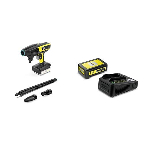 Kärcher Druckreiniger KHB 6 Battery Starter Kit (Akku: 18 V / 2,5 Ah, Schnellladegerät, Druck: 24 bar, Flachstrahldüse, Rotordüse, Gartenschlauchanschluss A3/4