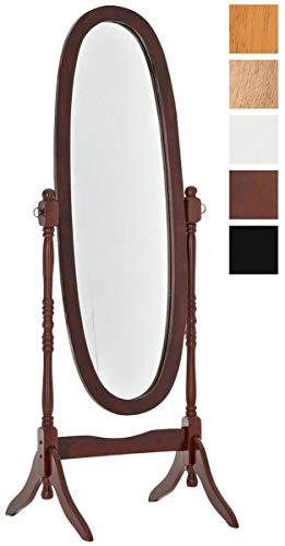 CLP Holz-Standspiegel Cora I Ovaler freistehender Spiegel im Landhausstil I Neigbarer Ganzkörperspiegel mit Holzgestell I Größe 150 x 60 cm Kirsch