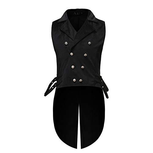 Kobay Veste Costume Gothique Homme Manteau Steampunk Slim Fit Halloween Mariage Déguisement