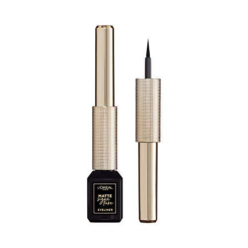 L'Oréal Paris Matte Signature Eyeliner 01 Black, schwarzer Eyeliner mit Präzisionspinsel für einen präzisen Lidstrich, wisch- und wasserfest
