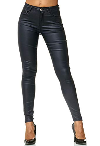 EGOMAXX Damen Treggings Hose Leder Optik Kunstleder Hose Skinny Stretch Röhre D2476, Farben:Blau, Größe:42