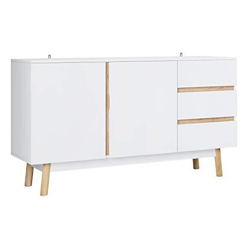 Homfa Aparador Salón Mueble Auxiliar Cocina Armario Almacenaje Madera con 2 Puertas y 3 Cajones para Dormitorio Entrada Blanco 150x40x81cm