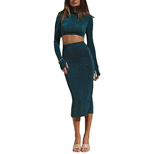 Conjunto de ropa sexy de dos piezas para mujer, color verde oscuro color sólido cuello de capucha y falda de hendidura, verde, S