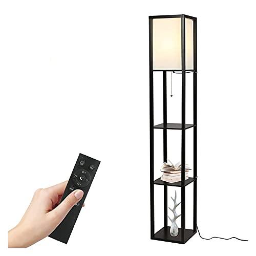 Lámpara de pie con Estante, Estante de Madera de 3 Pisos Lámpara de Altura con Control Remoto Lámpara Vertical Moderna Sala de Estar Oficina Decoración del hogar (Color : Black)
