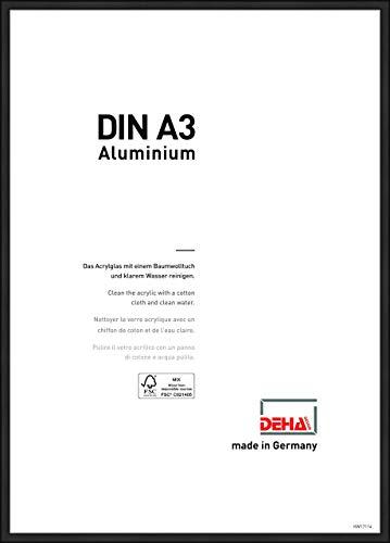 DEHA Aluminium Bilderrahmen Boston, 29,7x42 cm (A3), Eloxal Schwarz Matt