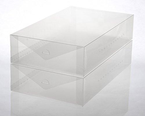 YBM HOME Ybmhome Plastic Shoe Box Shoe Storage Foldable Clear Container for Closet, Shelf Organizer 2189 (Boot Box (Set of 2))