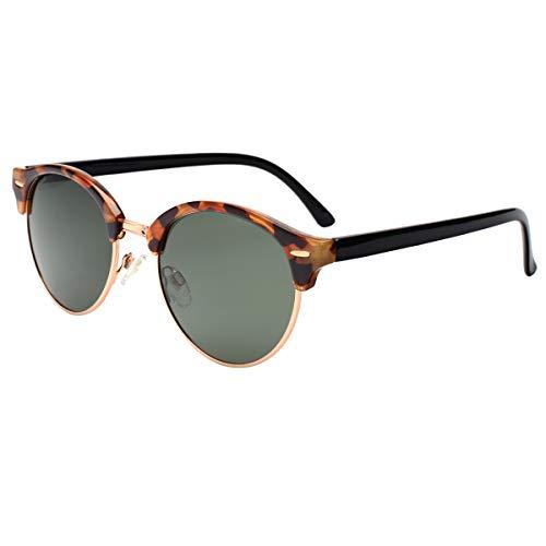 Vivienfang Ultralight Semi-Rimless Rund Wayfarer Sonnenbrille für Damen und Herren P2116A Brown Demi