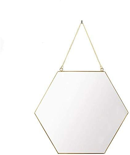 Make-up spiegel LHY Minimalistische Home Verbetering Geometrische Zeshoek Gouden Spiegel Ketting mode