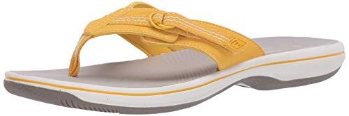 Clarks Damen Brinkley Sun Zehentrenner, Gelb (Gelbe Synthetik), 42 EU