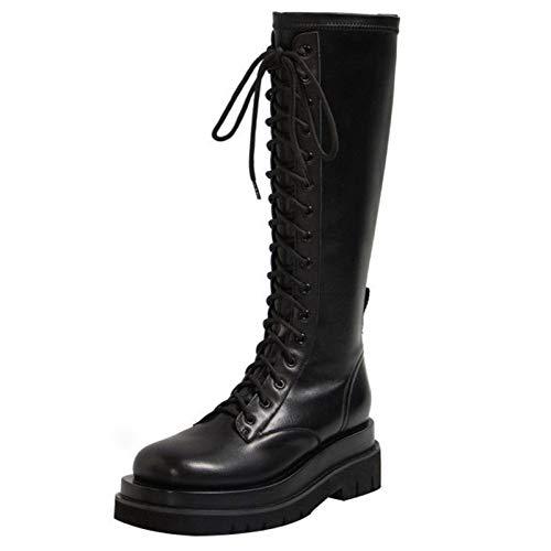 Shinelyf Ajustables Mujer Largo Boots Comodas Cuero Martin Botas Buena Elasticidad con Cremallera hasta La Rodilla Fáciles De Poner,Black Plus Velvet,35