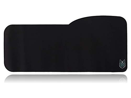SoloQ Curve Size Gaming Mouse Pad - Anti Slip Rubber Base - Stitched Edges - Large Desk Mat - 28.5' x 12.75' x 0.12' (Curve, Black with Blue Logo)