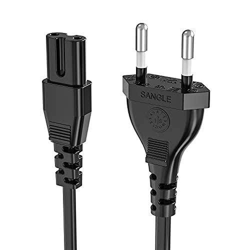 1,5 M Cavo di alimentazione Euro C7 per PS4 PS5, spina di alimentazione ancable a doppia presa Euro 8 cavo piccolo dispositivo per LG Philips Sony Panasonic TV, Blu-Ray, radio, alimentatori-nero