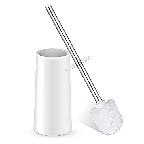Toilet Brush, Toilet Brush with Holder, Toilet Bowl Brush with Stainless Steel Handle Durable Bristles Deep Cleaning Compact Bathroom Brush Save Space Good Grip Anti-Drip