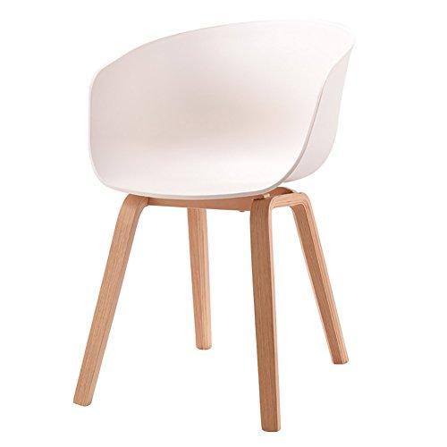 MENA Uk Designer Stuhl Sessel Stativ Hochwertiger Bent Wood Panton Designer PP Stuhl (Farbe : Weiß, größe : H75cm)
