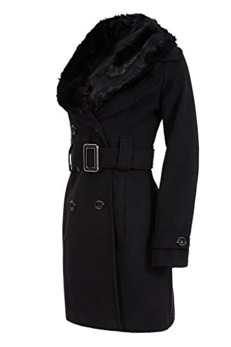 Laeticia Dreams Damen Winter Mantel Fleece Mantel mit Pelz XS S M L XL XXL, Farbe:Schwarz;Größe:36