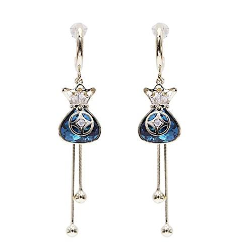 Li 925 Pendientes De Plata De Plata Bolsa De Bendición De Cristal Rojo Sección Larga Sake Sake Pendientes Talento De Mujer Oído, Blue Crystal