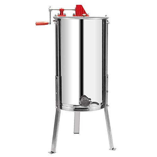 VINGLI Upgraded 3 Frame Honey Extractor Separator, Food Grade Stainless Steel Honeycomb Spinner Drum Manual Crank with Adjustable Height Stands,Beekeeping Pro Extraction Apiary Centrifuge Equipment
