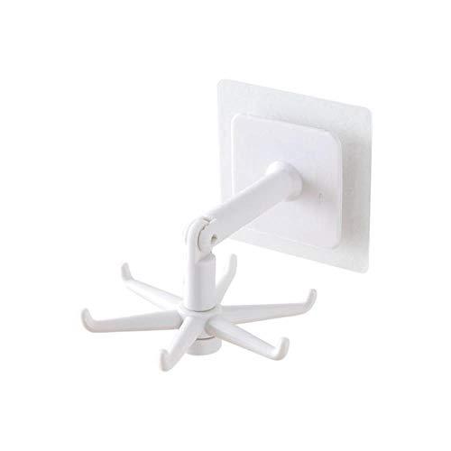 Ganchos multiusos ABS sin punzones 360 grados giratorios de cocina para el hogar accesorios de almacenamiento organizador de cocina Nuevo 2021-1pcs, blanco, China
