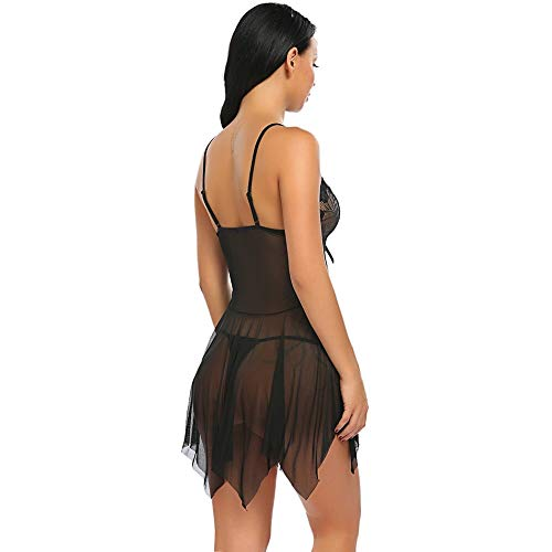 HiloRill Women's Sexy Brasso & Net Plain/Solid Lace Lingerie Set V Neck Sheer Asymmetrical Babydoll with G-String Night Suit (Black, Free Size)