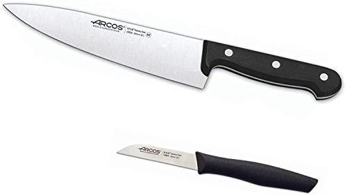 Arcos Set Cuchillo Cocinero Universal + Cuchillo Mondador. Cuchillos Chef Arcos con Hoja de Acero Inoxidable NITRUM de alta Resistencia y Durabilidad Superior, Color Negro (175 mm + Mondador)