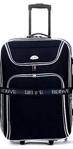 Trolley suitcase XXL volume 76 cm, 100/125 litres, expansion fold, integrated combination lock, black