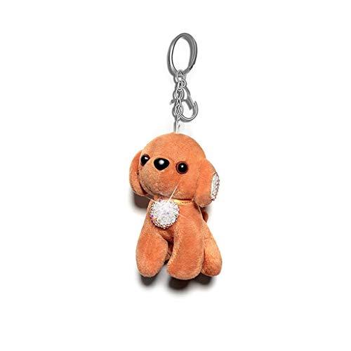 Encanto del bolso Perro de peluche llaveros diamantes de imitación for las mujeres chica Novia, encanto del bolso, llavero for las llaves del coche, regalo for ella Clave coche lindo colgante (naranja