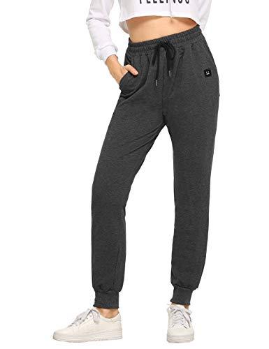 SweatyRocks Women's Casual Sweatpants Yoga Workout Jogger Pants with Pockets (Medium, 2-Dark Grey)