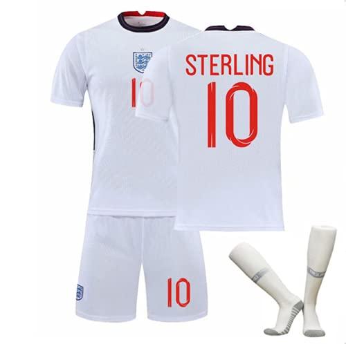 WYIILIN Camiseta de fútbol para niños 20-21 Inglaterra Home No. 10 S.T.E.R.L.I.N.G Jersey Unisex Adulto Blanco Jersey de fútbol con calcetines, Blanco XL