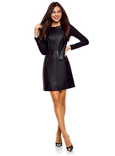 oodji Ultra Mujer Vestido de Piel Sintética Combinado, Negro, ES 36 / XS