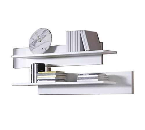 muebles bonitos Conjunto de Dos estantes Modelo Luke en Color Blanco